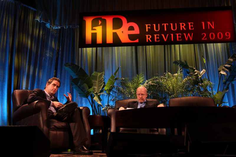 """""""Shaping the Rebound: A How-To Guide"""": Host Bill Phelps (L), Executive Director of Technology Consulting, Accenture; with John Hagel, Director and Co-Chair, Deloitte Center for Edge Innovation"""