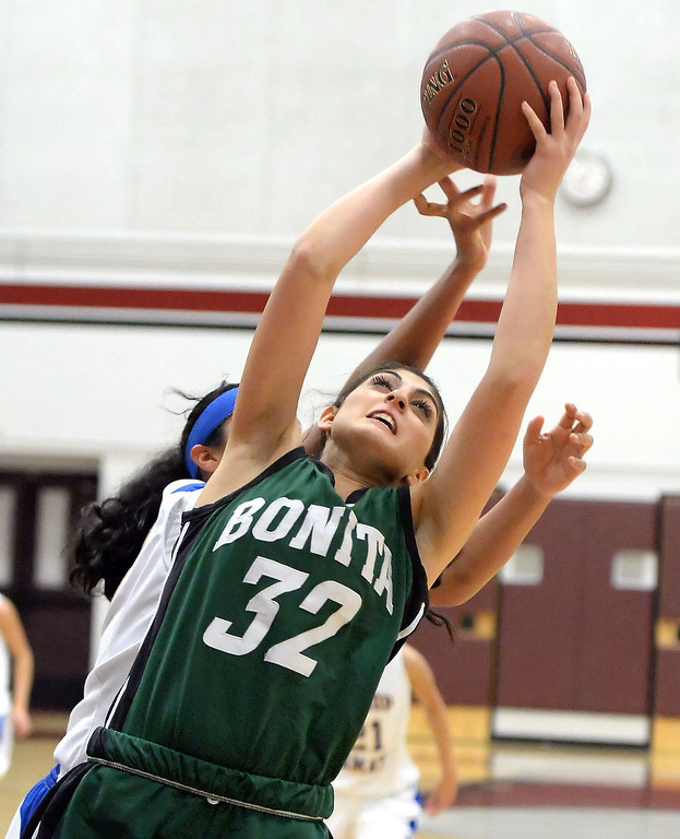. Bonita\'s Kandyce Smith (32) rebounds against Bishop Amat in the first half of the Covina basketball tournament at Covina High School in Covina, Calif., on Saturday, Dec. 14, 2013. Bonita won 49-41.   (Keith Birmingham Pasadena Star-News)