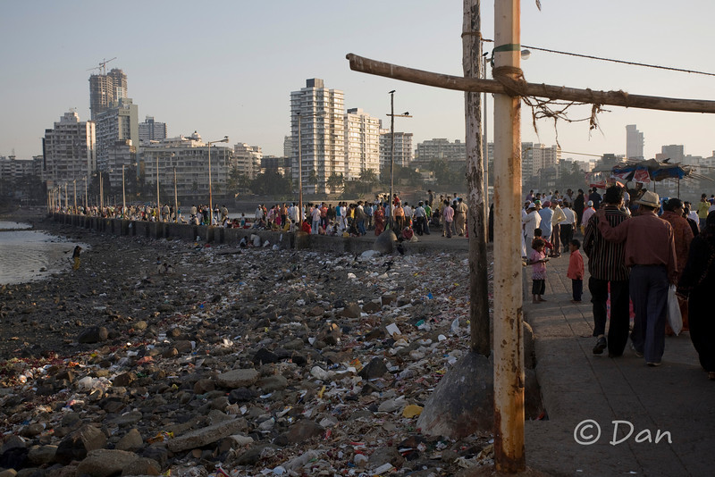 The Haji Ali mosque walkway.  There is a lot of trash here.