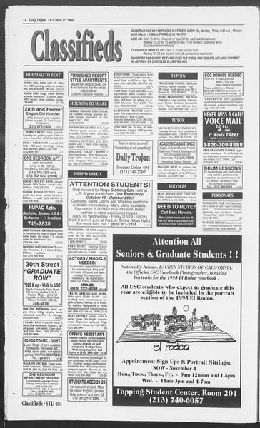 Daily Trojan, Vol. 123, No. 35, October 21, 1994