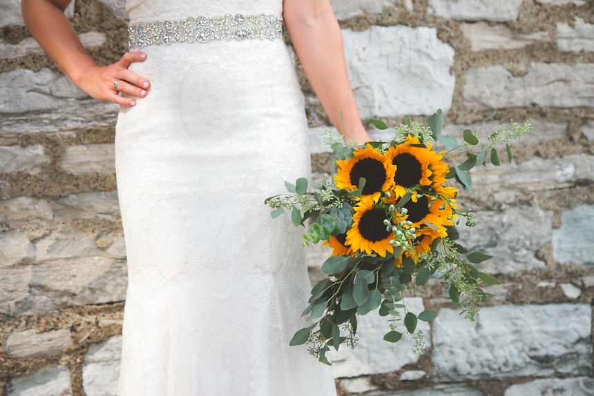 bridal bouquet with sunflowers