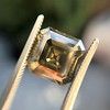 4.57ct Fancy Dark Greenish Yellow Brown Asscher Cut Diamond GIA 22