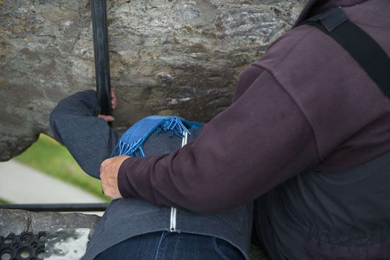Louise Kissing the Blarney Stone.