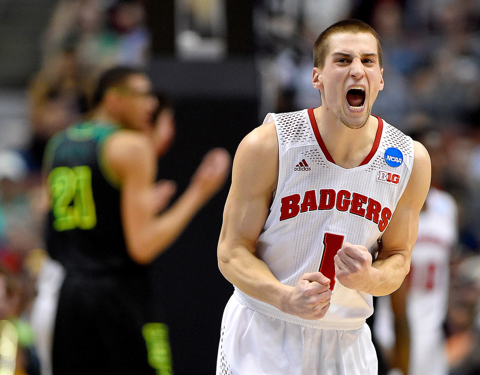 . Wisconsin guard Ben Brust (1) reacts during the first half of an NCAA college basketball tournament regional semifinal against Baylor, Thursday, March 27, 2014, in Anaheim, Calif. (AP Photo/Mark J. Terrill)