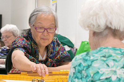 Leominster Senior Center playing Mahjong , June 25, 2019