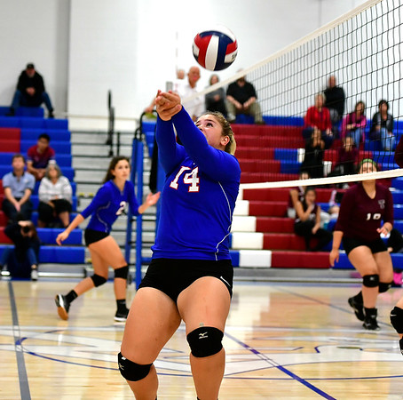 10/11/2019 Mike Orazzi | StaffrSt. Paul's Megan Fortier (14) during Thursday night's girls volleyball match in Bristol.