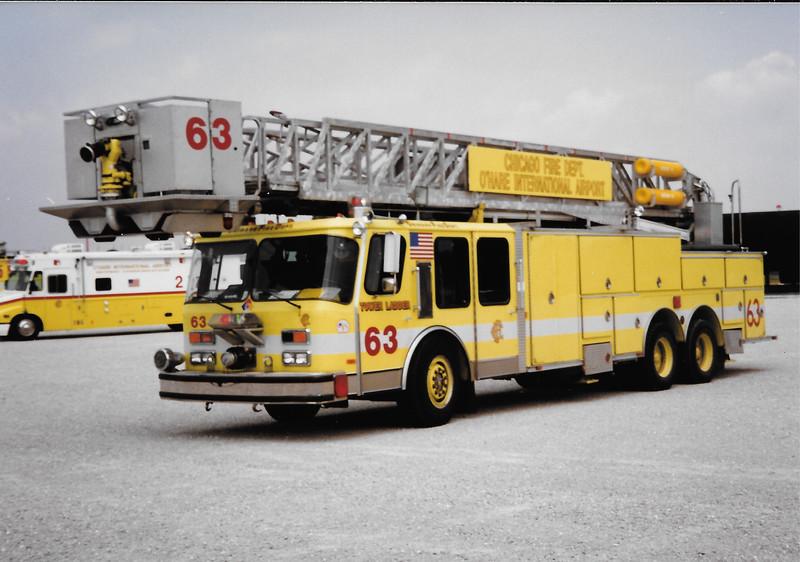 X-Chicago O'Hare Tower 63 1988 Federal E-One 95'TL E-263 E-1-6265 Added 2/16