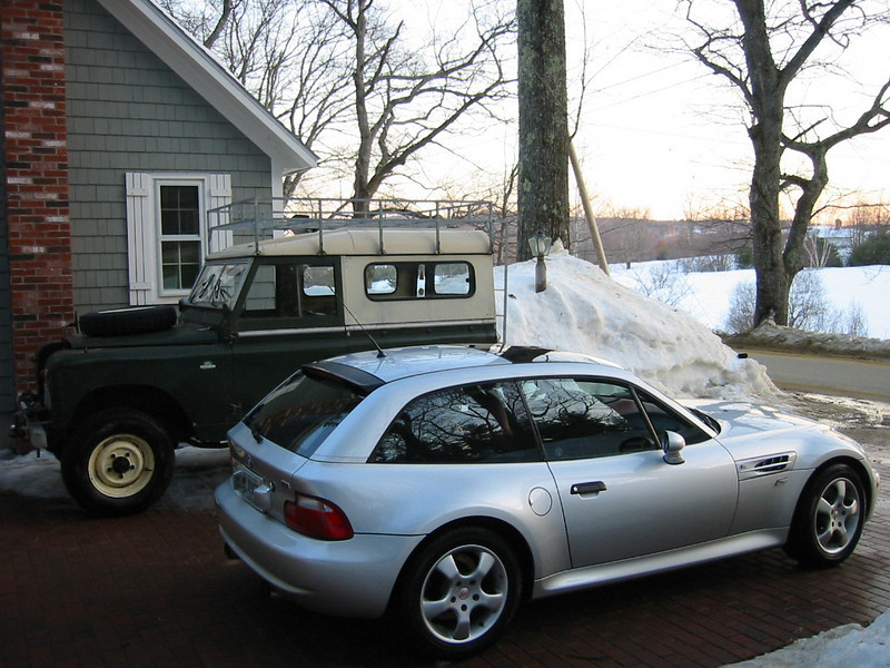 2000 BMW M Coupe (with '64 Land Rover)