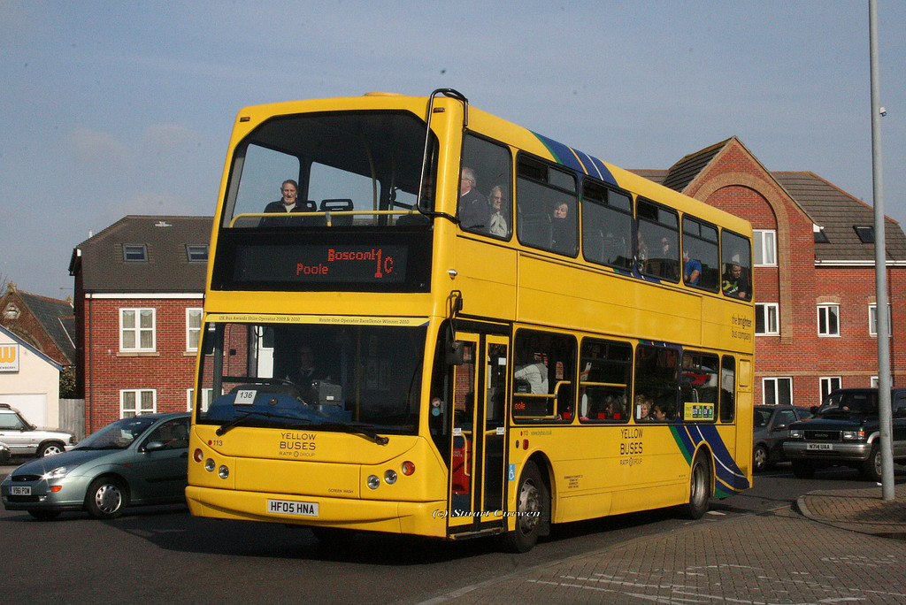 113, HF05HNA, Yellow Buses, Ashley Road, Boscombe.