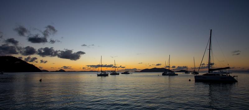 The anchorage at Cane Garden Bay.
