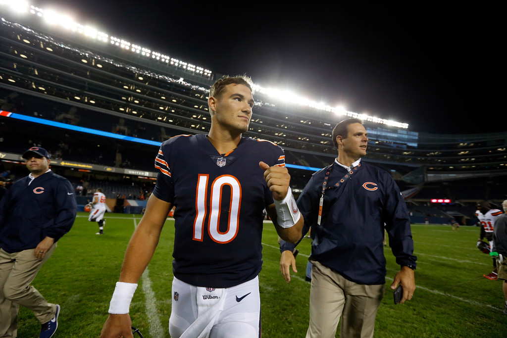 . Chicago Bears quarterback Mitchell Trubisky (10) after an NFL preseason football game between the Chicago Bears and the Cleveland Browns, Thursday, Aug. 31, 2017, in Chicago. The Borwns won 25-0. (AP Photo/Charles Rex Arbogast)