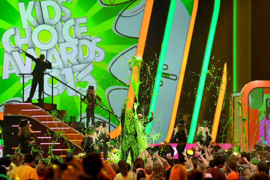 . Pitbull gets slimed at the 26th annual Nickelodeon\'s Kids\' Choice Awards on Saturday, March 23, 2013, in Los Angeles. (Photo by John Shearer/Invision/AP)