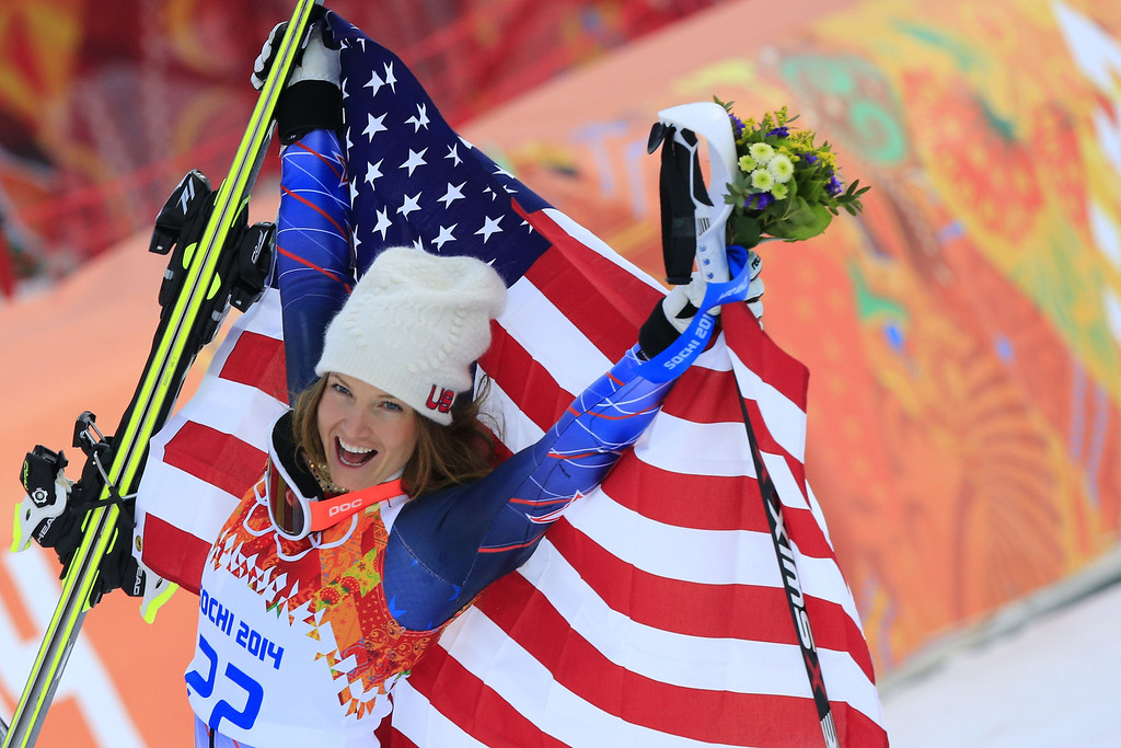 . US skier Julia Mancuso poses on the podium after the Women\'s Alpine Skiing Super Combined Flower Ceremony at the Rosa Khutor Alpine Center during the Sochi Winter Olympics on February 10, 2014.   ALEXANDER KLEIN/AFP/Getty Images