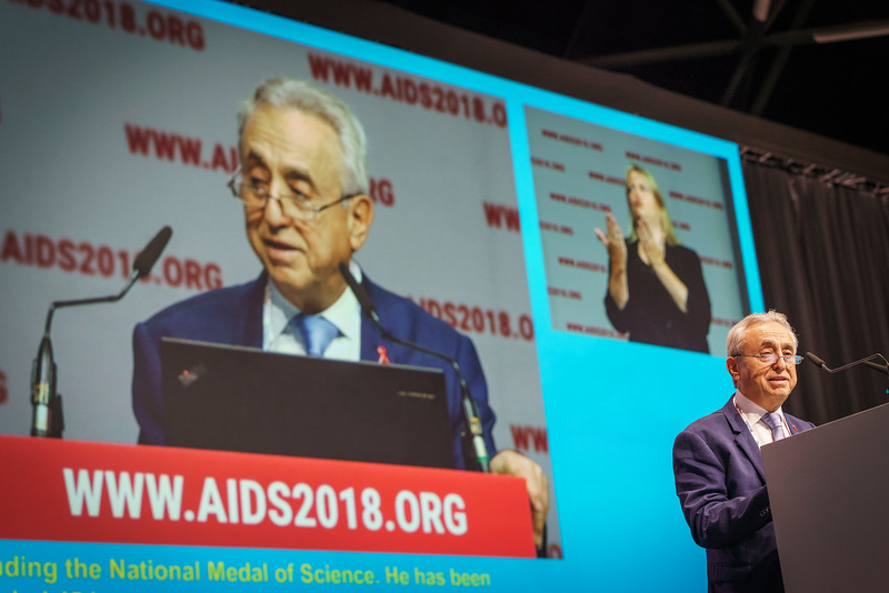 22nd International AIDS Conference (AIDS 2018) Amsterdam, Netherlands.   Copyright: Matthijs Immink/IAS Durable control of HIV infections in the absence of antiretroviral therapy: Opportunities and obstacles and Jonathan Mann Memorial Lecture: Data to drive equity Photo shows:  Pedro Cahn