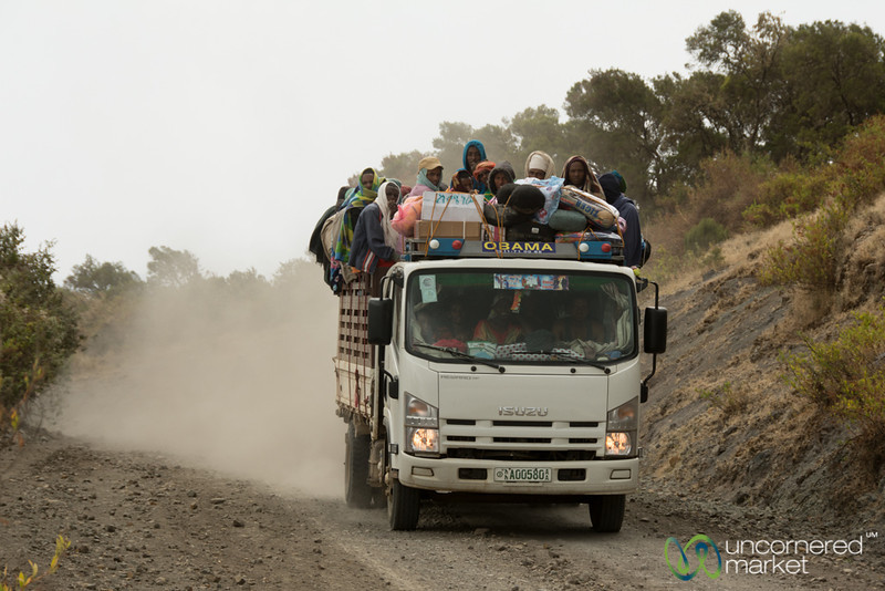 A Group of Ethiopians in an Obama Truck in the Simien Mountains