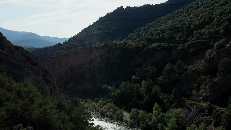 Available in 4k - Aerial image showing the Rio Ara (Ara river) canyon between Fiscal and Ainsa before sunset