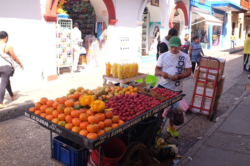 One of many colorful fruit vendors in tropical Cargagena.