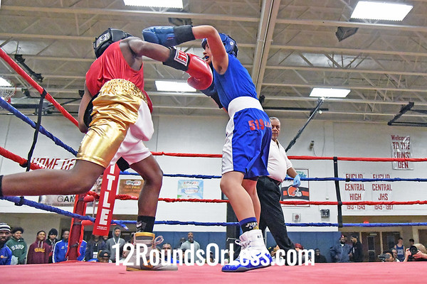 Bout #3:  Ibrahim Mason, Little Giants BC, Cleveland, OH   vs   Miguel Estrada, King of the Ring BC, Ontario, Canada  -  132 Lbs.