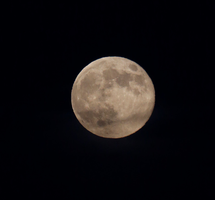""". The supermoon, which scientists call a \""""perigee moon,\"""" that occurs when the moon is near the horizon and appears larger and brighter than other full moons, is photographed at Palo Alto Baylands Park in Palo Alto, Calif., on Sunday, Aug.10, 2014. (Josie Lepe/Bay Area News Group)"""