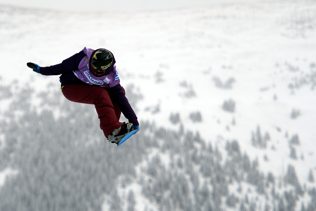 . Cheryl Maas rides during the slopestyle finals of the Copper Mountain Grand Prix.  (Photo by AAron Ontiveroz/The Denver Post)