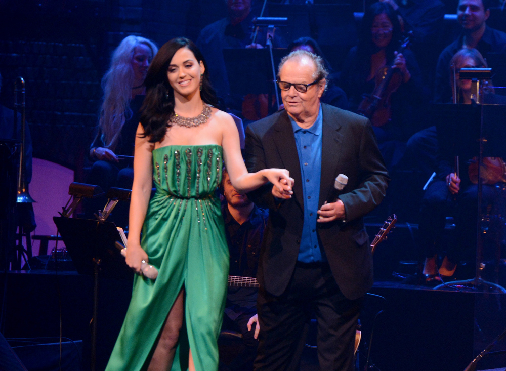 Description of . Singer Katy Perry (L) and actor Jack Nicholson attend a celebration of Carole King and her music to benefit Paul Newman's The Painted Turtle Camp at the Dolby Theatre on December 4, 2012 in Hollywood, California.  (Photo by Michael Buckner/Getty Images for The Painted Turtle Camp)