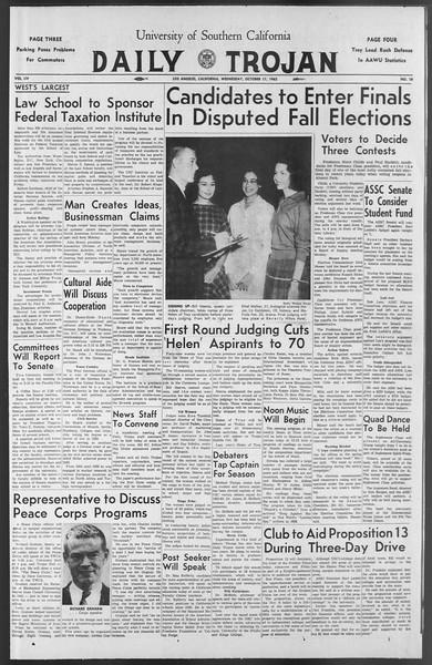 Daily Trojan, Vol. 54, No. 18, October 17, 1962