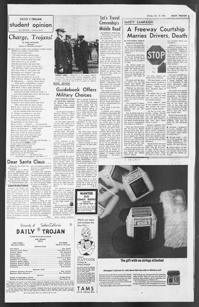 Daily Trojan, Vol. 54, No. 50, December 10, 1962