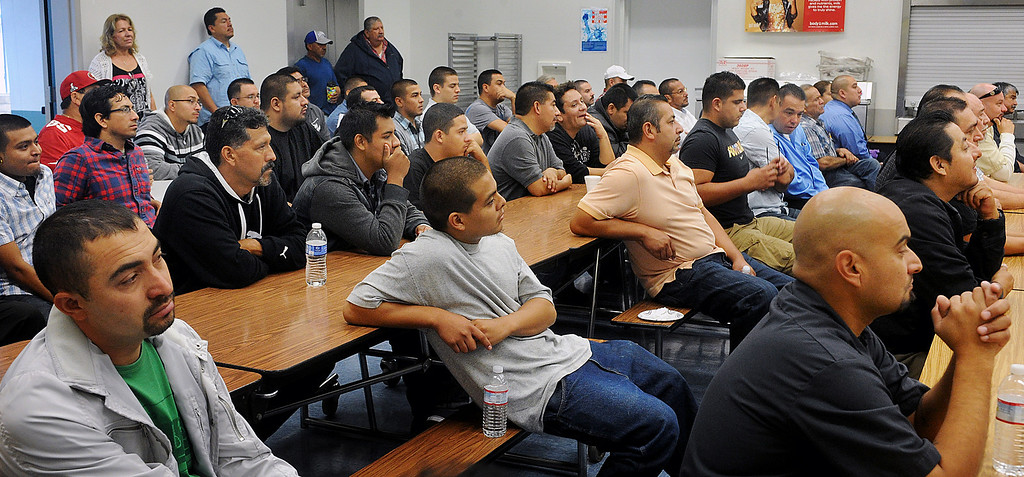 ". Dads listening to guest speaker,Ricardo Rivera, Director of Early Childhood Education speaking at Elwin Elementary School in Baldwin Park. Elwin Elementary School hosted, ""Bring Your Dad to School\"" Day Wednesday, October 2, 2013.(Walt Mancini/San Gabriel Valley Tribune)"