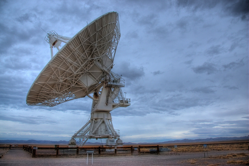 Isolated shot of an antenna in Very Large Array, New Mexico