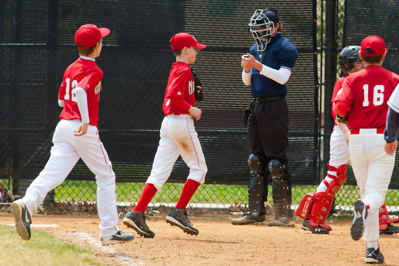 Mac gets a strike out to end the top of the 3rd inning with the Nats leading 9-0. The Nationals almost blew a big lead, but managed to hold off the Rays to win 9-7. They are now 4-2 for the season. 2012 Arlington Little League Baseball, Majors Division. Nationals vs Rays (28 Apr 2012) (Image taken by Patrick R. Kane on 28 Apr 2012 with Canon EOS-1D Mark III at ISO 400, f6.3, 1/800 sec and 420mm)