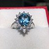 3.30ctw Aquamarine and Diamond Cluster Ring 35