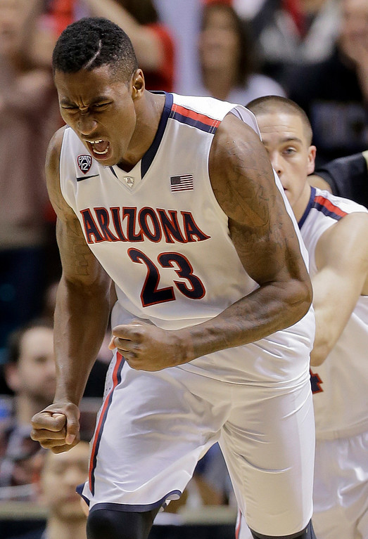 . Arizona\'s Rondae Hollis-Jefferson reacts after scoring against Colorado during the second half of an NCAA college basketball game in the semifinals of the Pac-12 Conference on Friday, March 14, 2014, in Las Vegas. Arizona won 63-43. (AP Photo/Julie Jacobson)