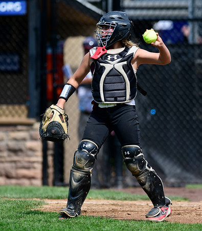 7/20/2019 Mike Orazzi | Staff Rhode Island's Brooke Fairbanks (5) during Little League softball with New Jersey at Breen Field in Bristol on Saturday.