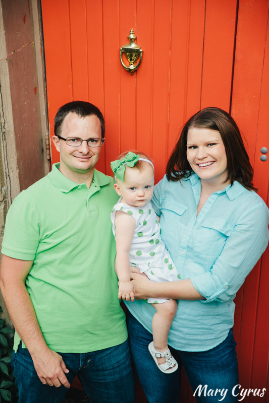 18-Month-Old Lorelai and her parents in downtown McKinney, Texas. Photo by Mary Cyrus - Portraits & Weddings in Dallas & Beyond.