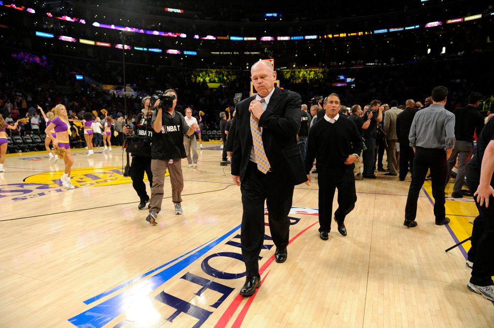 . Denver Nuggets head coach George Karl walks off after the Los Angeles Lakers beat the Denver Nuggets 86-87  in game 7 of the first round of the NBA playoffs Saturday, May 12, 2012 at Staples Center in Los Angeles, CA. John Leyba, The Denver Post
