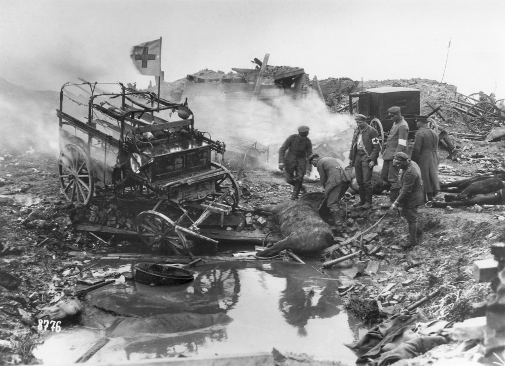 . Today marks the centenary of the outbreak of World War I, when Austria-Hungary declared war on Serbia, beginning a conflict that would claim over 16 million lives. Horse-drawn German ambulances suffer bomb damage, during World War I.   (Photo by Hulton Archive/Getty Images)