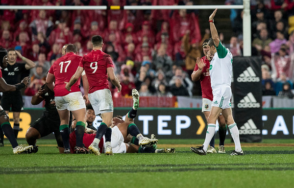 Charlie Faumuina  penalised during game 9 of the British and Irish Lions 2017 Tour of New Zealand, the second Test match between  The All Blacks and British and Irish Lions, Westpac Stadium, Wellington, Saturday 1st July 2017 (Photo by Kevin Booth Steve Haag Sports)  Images for social media must have consent from Steve Haag