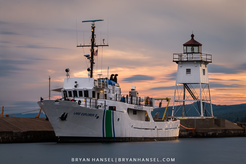 The U.S. Environmental Protection Agency research ship Lake Explorer II docked in Grand Marais, MN. The Lake Explorer II is on a comprehensive research mission to document the waters of Lake Superior. This is the first study of this kind.