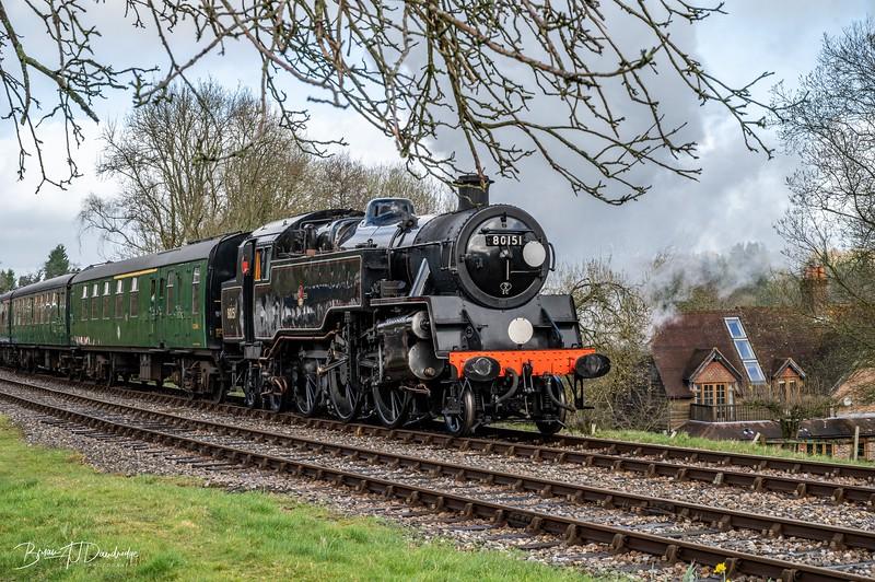 BR Standard Tank No.80151 departs Kingscote Station