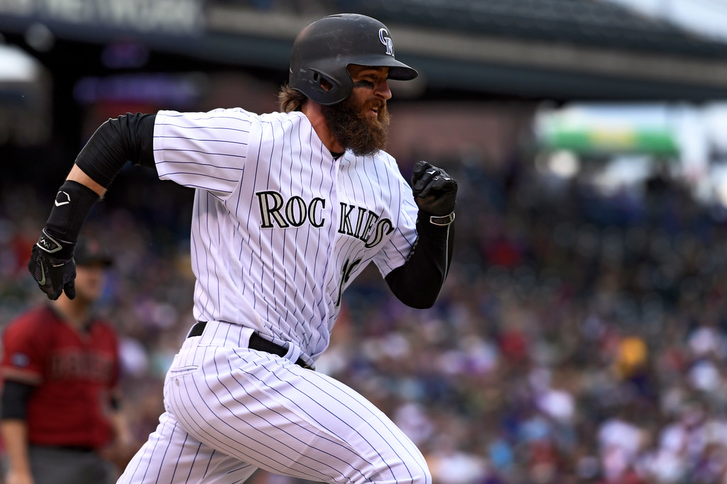 . DENVER, CO - MAY 11: Colorado Rockies center fielder Charlie Blackmon (19) sprints to first base for a single against the Arizona Diamondbacks during the sixth inning May 11, 2016 at Coors Field. (Photo By John Leyba/The Denver Post)