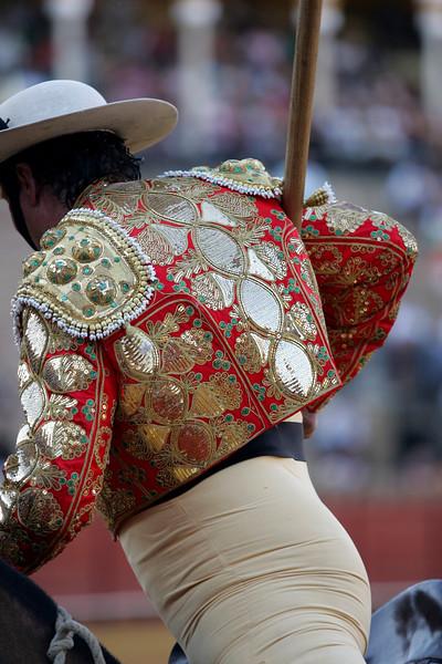 Picador bullfighter. Bullfight at Real Maestranza bullring, Seville, Spain, 15 August 2006.
