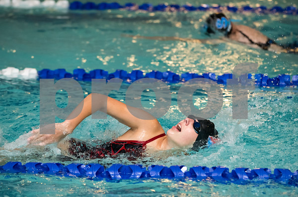 10/24/17 Wesley Bunnell | Staff Berlin girls swimming vs Southington on Tuesday evening at Plainville High School. Berlin's Nadia Humen competes in the 200M freestyle relay.