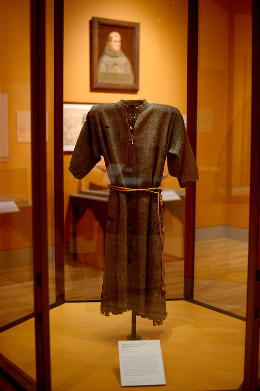 . Tunic of Fray Antonio Margil de Jesus, 18th century, on display in the Junipero Serra exhibition at The Huntington Library in San Marino Saturday night, November 16, 2013. (Photo by Sarah Reingewirtz/Pasadena Star-News)