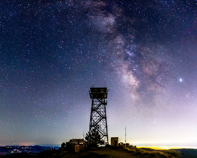Milky Way and Highpoint Lookout: Fire Lookout Tower On Palomar Mountain