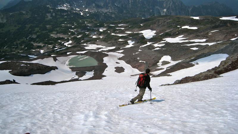 Scott skiing Flett glacier.