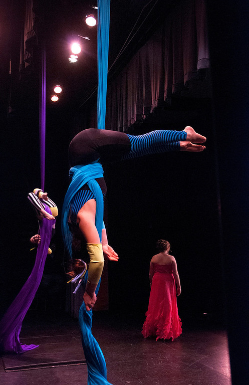 . Kayla Rice/Reformer Performers from the New England Center for Circus Arts add to the spectacle of the evening gown portion of the 2014 Brattleboro Winter Carnival\'s Queen\'s Pageant on Friday night.
