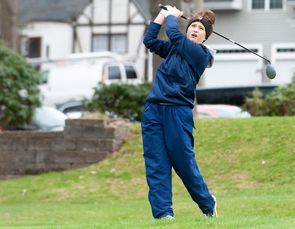 04/30/18 Wesley Bunnell   Staff Newington girls golf vs New Britain on Monday afternoon at Indian Hill Golf Club in Newington. Newington's Jessica Pierschalski on the first tee.