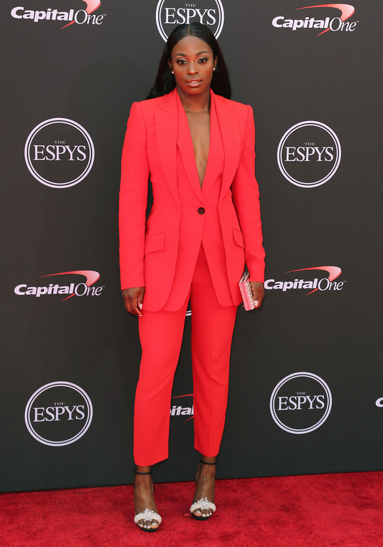 . Sloane Stephens arrives at the ESPY Awards at Microsoft Theater on Wednesday, July 18, 2018, in Los Angeles. (Photo by Willy Sanjuan/Invision/AP)