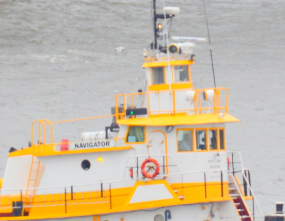 "Today 9/21/18 at 12:35 hd hrs I catch Balico""s Tug Navigator southbound pushing Balico 100. Good profile in wheelhouse."