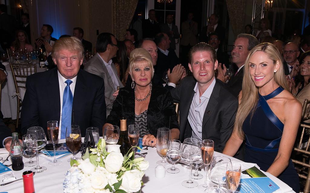 . (L-R) Donald Trump, Ivana Trump, Eric Trump and Lara Yunaska  attend The Eric Trump 8th Annual Golf Tournament  at Trump National Golf Club Westchester on September 15, 2014 in Briarcliff Manor, New York.  (Photo by Dave Kotinsky/Getty Images)